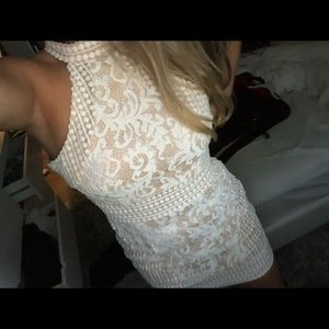 Pretty little thing lace halter bodycon